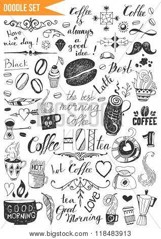 Hand drawn set - Coffee