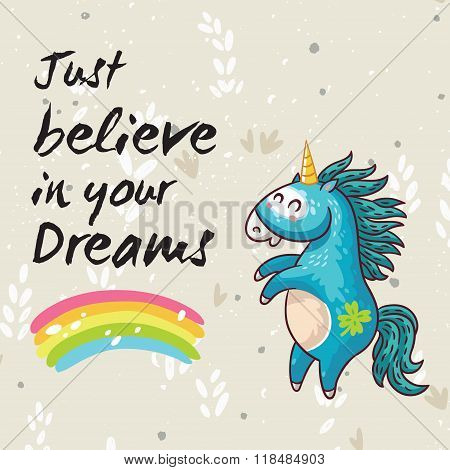 Dreams card with cute unicorn. Vector cartoon illustration