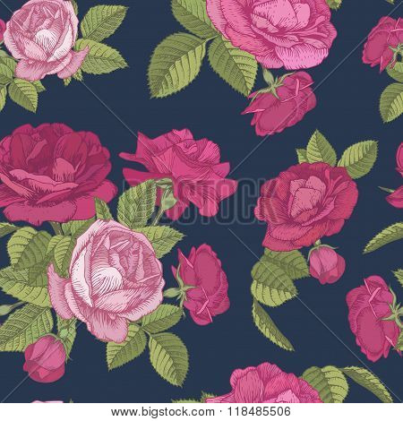 Vector floral seamless pattern with bouquets of red and pink roses on dark blue background