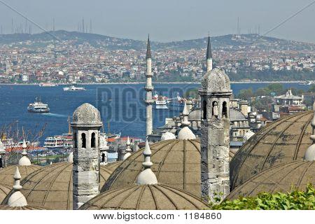 Turkish View On Bosporus. Point Of Interest In Turkey