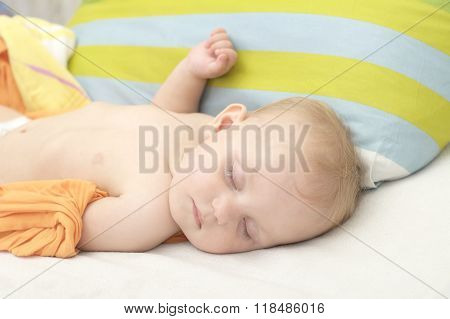 Little Caucasian Baby Sleeping