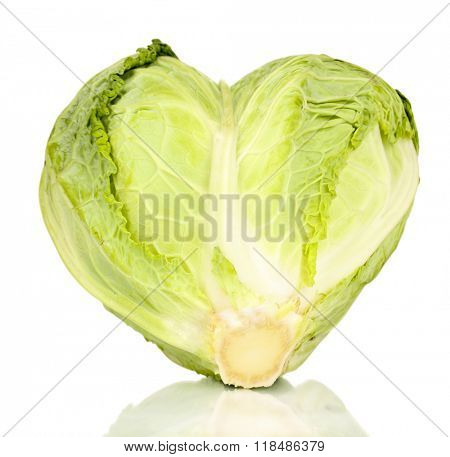 Fresh cabbage in heart shape isolated on white