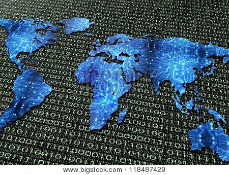 Digital Electronic World Map Isolated