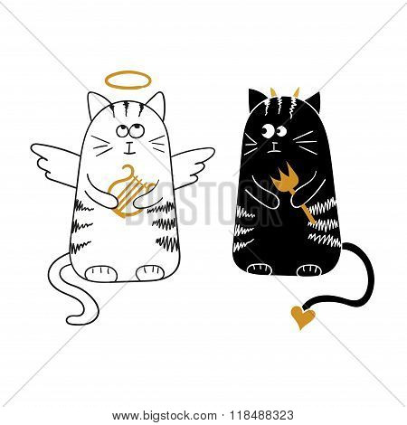 Cute cartoon cats, angel and devil.