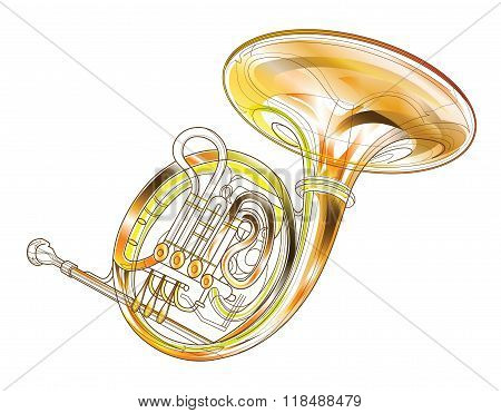 Horn Gold Brass Instruments Isolated