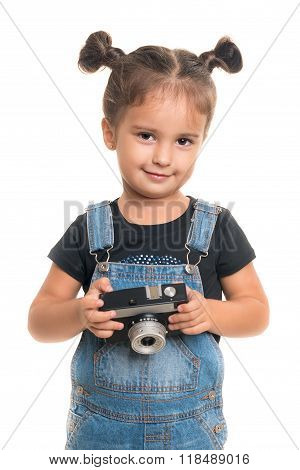 Baby Girl  With Vintage Camera Posing  In Studio.isolated