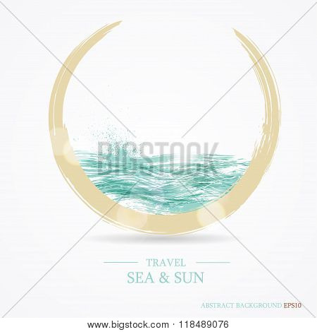 Abstract background with the image of the sea and the sun. Invit
