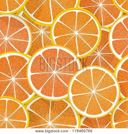 Citrus seamless vector pattern. Orange