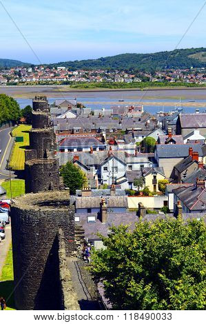 The historical medieval town wall surounding Conwy tow