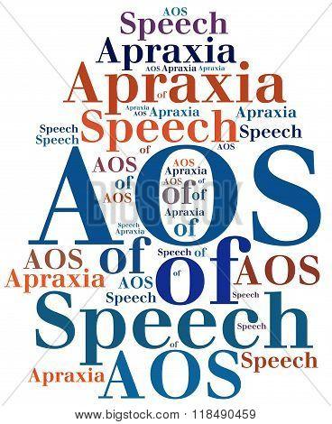 Aos - Apraxia Of Speech. Disease Abbreviation Concept.
