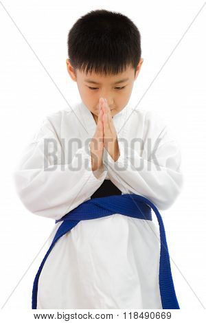 Asian Little Karate Boy In White Kimono