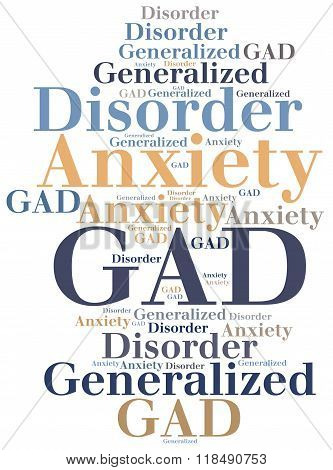 Gad - Generalized Anxiety Disorder. Disease Concept.