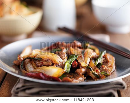 chinese mongolian beef stir fry on plate