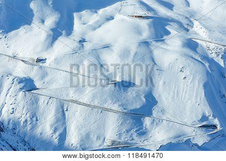 Serpentine Road On Snowy Slope (austria).