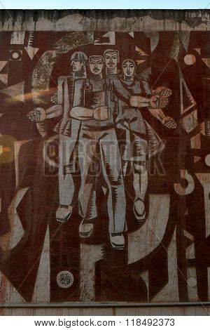 Soviet mural on building in Lokbatan