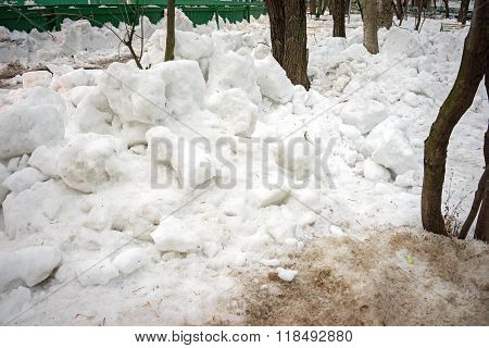 A Pile Of Snow Lumps In The Courtyard Of The Moscow Winter