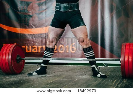 male athlete of powerlifting competition