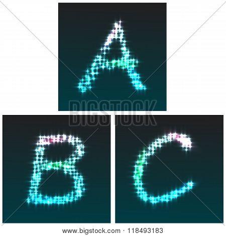 Stardust Font, Letters A, B, C