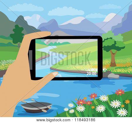 photographing the beautiful landscape (flat illustration)