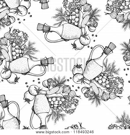 Seamless monochrome vector pattern of still life with vegetables
