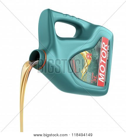 Pouring Engine Oil From Its Plastic Container. Motor Oil