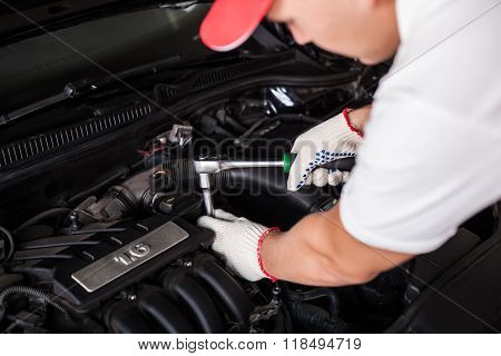 Hands Of Car Mechanic