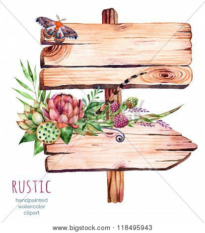 Watercolor wooden pointer.decorated with flowers