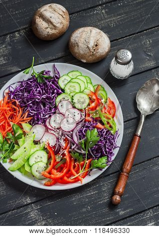 Raw Fresh Coleslaw With Red Cabbage, Radish, Cucumber, Sweet Peppers, Carrots, Parsley And Sesame Se