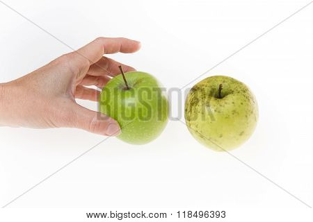 Wrinkled And Fresh Apples Isolated On White Background