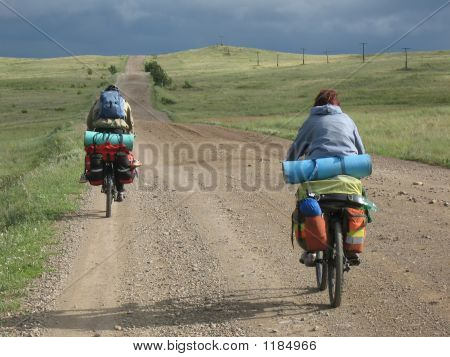 Couple Of Cyclists Have A Bicycle Travel.