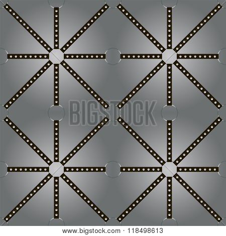 Black Belts With Rivets Stretched On Rings In Backlight