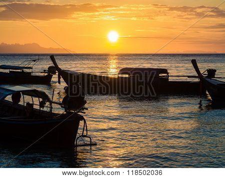 Boat On Sea Beach Sunset
