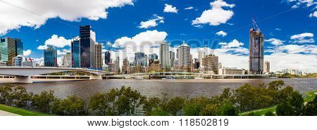 BRISBANE, AUSTRALIA FEB 12 2016: Panoramic view of Brisbane from South Bank over the river. Brisbane is the capital of QLD and the third largest city in Australia.