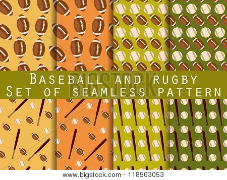 Bat And Ball. Baseball And Rugby. Set Of Seamless Patterns. For Wallpaper, Bed Linen, Tiles, Fabrics