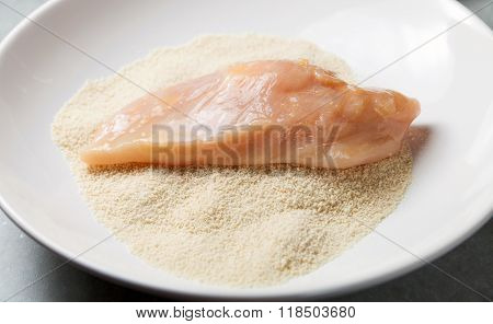 Preparing Chicken Breast Fillets, Breadcrumbs And Eggs