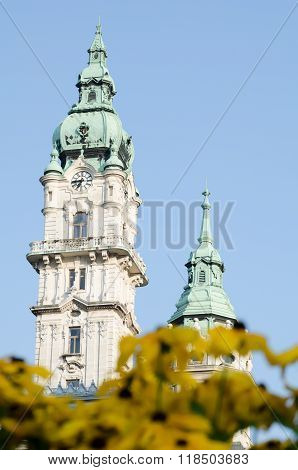 Gyor City Hall Towers With Yellow Flowers