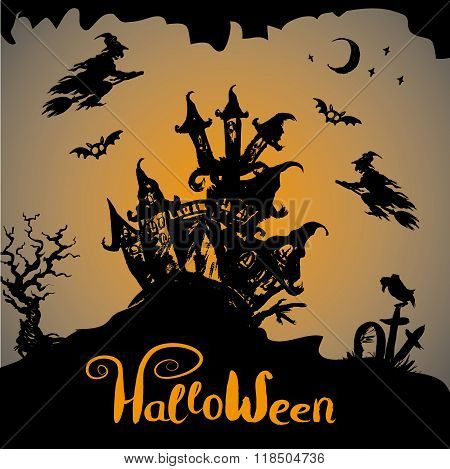 Halloween night background with haunted house, hand drawn vector