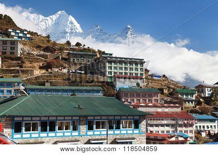 Namche Bazar And Mount Thamserku