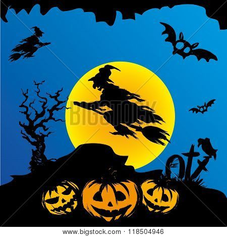 Halloween witch flying on broomstick, scary Halloween background. Hand drawn vector.