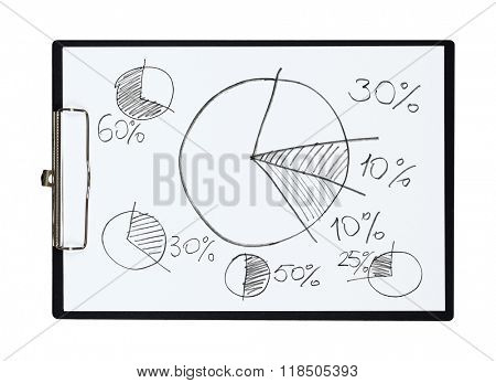 Clipboard and paper sheet with pencil drawing pie chart percent, isolated object