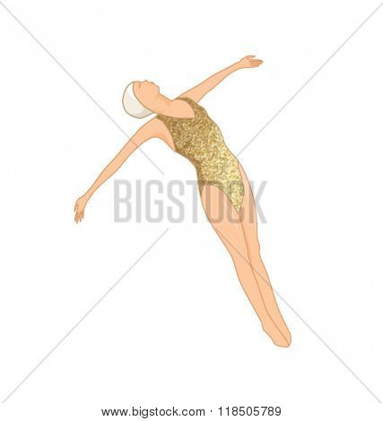 Stock Vector Illustration: GOLD SWIMMER WALL ART. Editable vector illustration file. Can use as poster, wall art picture, card, postcard and more...