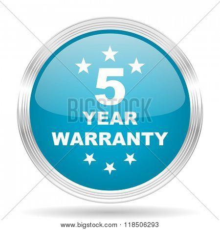 warranty guarantee 5 year blue glossy metallic circle modern web icon on white background