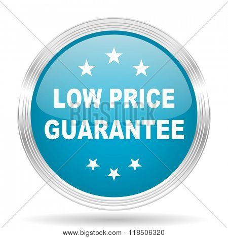 low price guarantee blue glossy metallic circle modern web icon on white background