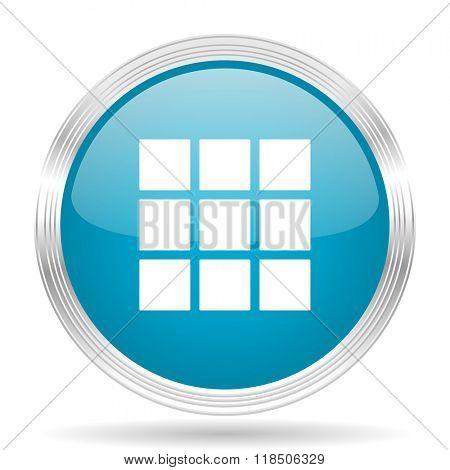 thumbnails grid blue glossy metallic circle modern web icon on white background
