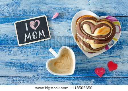 Breakfast With Coffee And Bun Heart. Letter I Love Mom