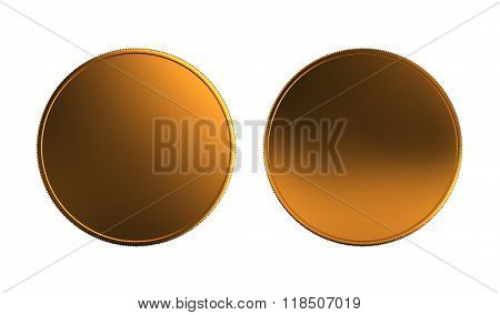 Gold Coin Front And Back White