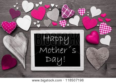 Black And White Chalkbord, Pink Hearts, Happy Mothers Day
