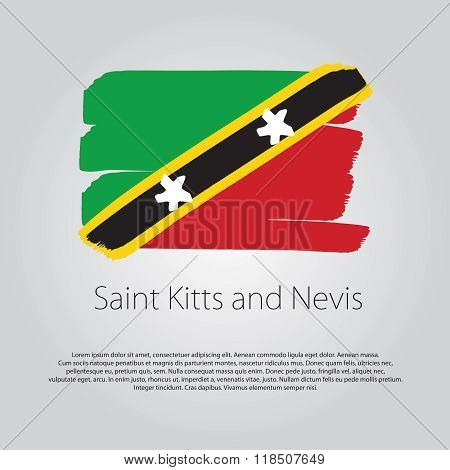 Saint Kitts And Nevis Flag With Colored Hand Drawn Lines In Vector Format