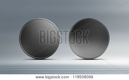 Front And Back Silver Coin With Background