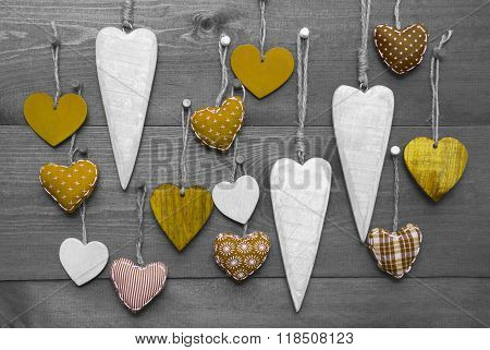 Yellow Hearts For Valentines Daecoration, Black And White Image